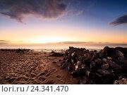 Купить «Spain, Canary Islands, Lanzarote, Puerto del Carmen, beach, sky, sand, early morning, sunrise», фото № 24341470, снято 24 июня 2018 г. (c) mauritius images / Фотобанк Лори