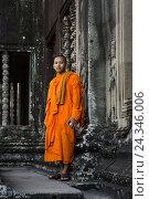 Купить «Monk in Cambodia, Siem Reap», фото № 24346006, снято 11 декабря 2014 г. (c) mauritius images / Фотобанк Лори