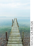 Купить «Wooden Jetty with Calm Sea, Vordingborg, Zealand, Denmark», фото № 24346526, снято 20 февраля 2018 г. (c) mauritius images / Фотобанк Лори