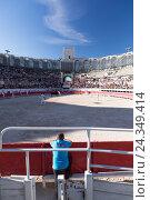 Купить «Bullfight, amphitheatre of Arles, Arles, Provence-Alpes-Côte d'Azur, France, Europe», фото № 24349414, снято 19 августа 2018 г. (c) mauritius images / Фотобанк Лори