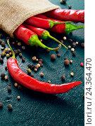 Красный острый перец на синем фоне. Стоковое фото, фотограф Виталий Федоров / Фотобанк Лори