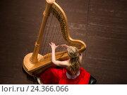 Купить «Девушка в красном платье играет на музыкальном инструменте арфе, который стоит на сцене концертного зала», фото № 24366066, снято 6 декабря 2016 г. (c) Николай Винокуров / Фотобанк Лори