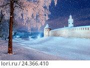 Купить «Великий Новгород, Россия - Кремль зимней ночью во время снегопада», фото № 24366410, снято 21 марта 2019 г. (c) Зезелина Марина / Фотобанк Лори