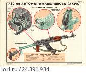 Купить «Оружейный плакат: 7,62-мм автомат Калашникова (АКМС)», иллюстрация № 24391934 (c) Артем Сеттаров / Фотобанк Лори