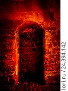 Купить «Niche in cellar wall, red illuminateded,», фото № 24394142, снято 24 сентября 2018 г. (c) mauritius images / Фотобанк Лори