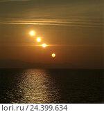 Купить «Greece, Athos, silhouette, peninsula Sithonia, sundown, sea, multiple exposure Hagion Oros, Ajion Oros, Chalkidike, Chalkidiki, coast, the sun, decline, sink, evening heaven, sequence», фото № 24399634, снято 7 мая 2003 г. (c) mauritius images / Фотобанк Лори