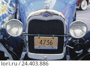 Купить «Car, old-timer, Ford A, blue, year construction in 1929, front view, detail, radiator bonnet, bonnet, radiator grille, nostalgia, nostalgically, vehicle, passenger car, headlight, mark, radiator,», фото № 24403886, снято 21 мая 2002 г. (c) mauritius images / Фотобанк Лори