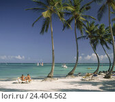 Купить «The Dominican Republic, Punta Cana, beach, bathers, the Caribbean, hotel beach, palm beach, sandy beach, deck chairs, people, tourists, rest, recreation...», фото № 24404562, снято 2 февраля 2009 г. (c) mauritius images / Фотобанк Лори