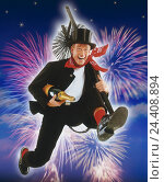 Купить «Chimney sweeps, champagne Bottle, conductor, haste, run, caper, fireworks Composing, studio, New Year's Eve, New Year, icon, luck, luck bringer, luck icon, man, chimney sweep, champagne, laugh, run», фото № 24408894, снято 28 мая 1999 г. (c) mauritius images / Фотобанк Лори