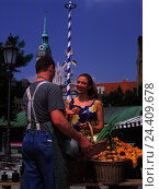 Купить «Germany, Bavaria, Munich, Viktualienmarkt, vegetable seller, woman, make purchases young, vegetables, purchasing, offer, choice, select, market, seller, man, offer, nutrition, healthy», фото № 24409678, снято 17 августа 2018 г. (c) mauritius images / Фотобанк Лори