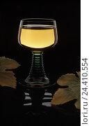 Купить «Wineglass, white wine, vine leaves, product photography, Still life, Roman, wine, Moselle wine, alcohol», фото № 24410554, снято 8 августа 2001 г. (c) mauritius images / Фотобанк Лори