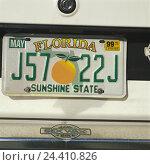 "Купить «The USA' Florida, Miami, car, detail, number plate ""Florida""», фото № 24410826, снято 20 сентября 2007 г. (c) mauritius images / Фотобанк Лори"