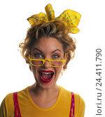 Купить «Woman, young, glasses, clothes, brightly, facial play, enthusiastically, portrait, women, studio, cut out, enthusiasm, colorfully, joy, glad, shrill,», фото № 24411790, снято 29 сентября 2000 г. (c) mauritius images / Фотобанк Лори