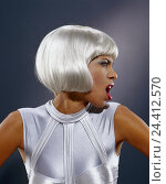 Купить «Woman, young, upper top, wig, silver, facial play, aggressively, portrait, tread Future, studio, inside, clothes, outfit, modern, shout future, fashion...», фото № 24412570, снято 26 сентября 2000 г. (c) mauritius images / Фотобанк Лори