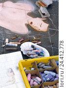 Купить «Street painting, women's portrait, chalks, sketch, detail, street artist, sign, paint, artist, amateur painters, art, subscription, painting, women's act...», фото № 24412778, снято 2 ноября 2005 г. (c) mauritius images / Фотобанк Лори