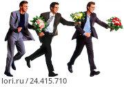 Купить «Men, three, suit, bouquets, happy, gesture, motion, run Men, man, flowers, present, surprise, laugh, joy, enthusiasm, haste, date, engagement, side view, studio, cut out,», фото № 24415710, снято 16 февраля 2006 г. (c) mauritius images / Фотобанк Лори