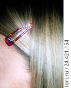 Купить «Woman, blond, strand hair, hair clamp, close up, long-haired, hairs, hairstyle, accessory, accessories, brightly, bobby pin, clip, hair slide, braces, hair, hide, very close», фото № 24421154, снято 7 ноября 2005 г. (c) mauritius images / Фотобанк Лори