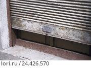 Купить «Shutter, old, let down detail, rolling beams, exit, neglect, impoverishment,», фото № 24426570, снято 6 апреля 2004 г. (c) mauritius images / Фотобанк Лори