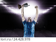 Купить «Composite image 3D of happy rugby player holding trophy», фото № 24428978, снято 27 июня 2019 г. (c) Wavebreak Media / Фотобанк Лори
