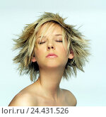 Купить «Woman, young, free upper part of the body, eyes closed, portrait, very close, look, young, short hair hairstyle, hairstyle, fashionably, trendy, blond...», фото № 24431526, снято 31 января 2006 г. (c) mauritius images / Фотобанк Лори