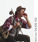 Купить «Anglers, gesture, call man, hinge equipment, hinge, shout, care, headgear, studio, cut out», фото № 24435162, снято 15 января 2002 г. (c) mauritius images / Фотобанк Лори