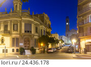 Купить «picturesque streets of Badalona in night. Barcelona», фото № 24436178, снято 21 ноября 2015 г. (c) Яков Филимонов / Фотобанк Лори
