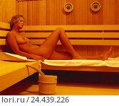 Купить «Sauna, woman, young, nude, towel, lie, sweat inside, nakedness, health, Schwitzbad, sauna walk, hardening, recreation, relaxing, enjoy», фото № 24439226, снято 18 августа 2018 г. (c) mauritius images / Фотобанк Лори