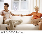 Купить «Sofa, couple, conflict, approach, hands hold, young, 20-30 years, partnership, respect, crisis, marital crisis, marriage problems, unhappily, differences...», фото № 24449162, снято 23 января 2004 г. (c) mauritius images / Фотобанк Лори