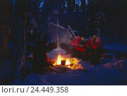 Купить «Canada, Yukon, wood, tent warehouse, campfire, men, sit, warm up night, winter camping, adventure, expedition, man, fire, flame, cold, cook, entertainment, leisure time», фото № 24449358, снято 20 августа 2018 г. (c) mauritius images / Фотобанк Лори