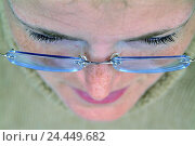 Купить «Woman, young, glasses, portrait, detail, from above, women's portrait, curled, perspective, 26 years, look, eyebrows, eyelashes, nose, visual help, wearer...», фото № 24449682, снято 5 января 2006 г. (c) mauritius images / Фотобанк Лори