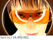 Купить «Woman, young, sunglasses, seriously, view peephole, portrait, detail, 24 years, Asian, Asian, glasses, orange, orange, view, insight, moment, window, circle...», фото № 24450062, снято 6 апреля 2004 г. (c) mauritius images / Фотобанк Лори