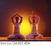 Купить «Couple, relaxation exercise, yoga, synchronically, Lotussitz, extends, yoga school, yoga lessons, recreation, practise, yoga practise, meditate, relax...», фото № 24451454, снято 21 ноября 2005 г. (c) mauritius images / Фотобанк Лори