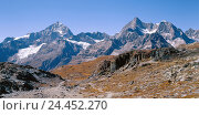 Купить «Switzerland, Valais, Cerium-weakly, Red's floor, mountain landscape, Europe, matt valley, Walliser alps, alp summits, mountains, mountains, panorama, mountain panorama, nature, rest, silence, Idyll», фото № 24452270, снято 17 октября 2003 г. (c) mauritius images / Фотобанк Лори