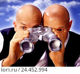 Купить «Men, two, bald head, binoculars, see through, together, portrait, Men, studio, men, business people, look, look, search, observe, monitor, discover, enlargement...», фото № 24452994, снято 17 февраля 2006 г. (c) mauritius images / Фотобанк Лори
