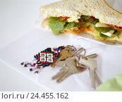 Купить «Table, sandwich, bitten into, key bundle, white bread, toast bread, bread, books, intermeal, hunger, appetite, eat, occasionally, break, nutrition, key, many, key fob, Still life, product photography», фото № 24455162, снято 13 декабря 2005 г. (c) mauritius images / Фотобанк Лори