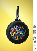 "Купить «Frying pan, cube, brightly, studio, game chance, ""cooking luck case"", cook, pan, craps, product photography, background, yellow, brightly thrown, Still life, product photography,», фото № 24455194, снято 1 августа 2001 г. (c) mauritius images / Фотобанк Лори"