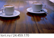 Купить «wooden table, cups, cappuccinos, lacteal froth, table, coffee cups, cappuccino cups, drink, coffee, hot drink, luxury, caffeine-containing, stimulatingly...», фото № 24459170, снято 5 декабря 2005 г. (c) mauritius images / Фотобанк Лори