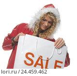 "Купить «Woman, young, hooded jacket, carrier bag, label ""SALE"", portrait, women's portrait, 20-30 years, blond, curls, long-haired, wavy, happy, smile, view lowered...», фото № 24459462, снято 15 сентября 2004 г. (c) mauritius images / Фотобанк Лори"
