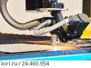 Купить «plasma or laser cutting metalworking with sparks», фото № 24460954, снято 25 мая 2015 г. (c) Дмитрий Калиновский / Фотобанк Лори