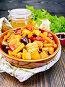 Жаркое с овощами и мясом в сковороде на доске, фото № 24461098, снято 16 октября 2016 г. (c) Резеда Костылева / Фотобанк Лори