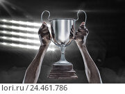 Купить «Composite image 3D of cropped hand of athlete holding trophy», фото № 24461786, снято 27 июня 2019 г. (c) Wavebreak Media / Фотобанк Лори