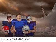 Купить «Composite image of american football team», фото № 24461990, снято 19 июня 2019 г. (c) Wavebreak Media / Фотобанк Лори
