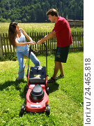 Купить «Couple, lawn mower, fight, model released, garden, gardening, man, woman, meadow, turf, mow, turf mowing, electric lawn mower, conflict, instruction, explanation, annoyance», фото № 24465818, снято 9 июля 2002 г. (c) mauritius images / Фотобанк Лори