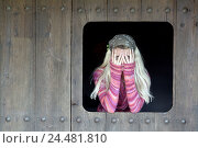 Купить «Wood door, window excerpt, woman, young,  blond, kerchief, wool sweaters,  Gesture, fingers, view 24 years, 20-30 years, seriously, sorrow, worries, problems...», фото № 24481810, снято 17 августа 2018 г. (c) mauritius images / Фотобанк Лори