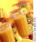 Купить «Glasses, multi vitamin juices, fruits from glasses, from fruit juices, fruit juices, tropical fruits, extract the juice, juices, freshly squeezed, rich...», фото № 24485570, снято 1 декабря 2005 г. (c) mauritius images / Фотобанк Лори