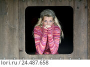 Купить «Wood door, window excerpt, woman, young,  blond, kerchief, wool sweaters,  seriously, thoughtfully, freezes  24 years, 20-30 years, thoughts, withdraws...», фото № 24487658, снято 17 августа 2018 г. (c) mauritius images / Фотобанк Лори