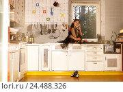 Купить «Cuisine, work surface, woman, young, sit, call up, 20-30 years, view side view, cook, housewife, culinary work, housework, disinterest, deflection, leisure...», фото № 24488326, снято 1 марта 2004 г. (c) mauritius images / Фотобанк Лори