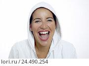 Купить «Woman, young, jacket, hood, knows, laughs, portrait,   Series, 20-30 years, gaze camera, cheerfully, joy,  Hood jacket, headgear, mood positively, omitted...», фото № 24490254, снято 20 июля 2018 г. (c) mauritius images / Фотобанк Лори