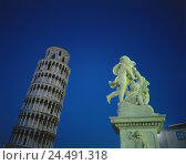 Купить «Italy, Tuscany, Pisa, oblique tower, Engel's sculpture, detail, lighting, night, Europe, Southern, Europe, town, Campo dei Miracoli, Domplatze, Piazza...», фото № 24491318, снято 25 октября 2005 г. (c) mauritius images / Фотобанк Лори