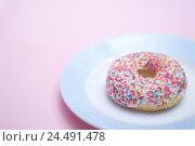 Купить «Plate, doughnut, sugar crumble, brightly, cake, dough squiggle, squiggle, fungus cake, small cake, cakes and pastries, glaze, sugar pearls, icing, crumble...», фото № 24491478, снято 8 ноября 2005 г. (c) mauritius images / Фотобанк Лори